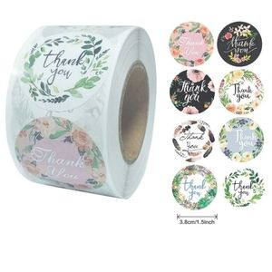 """80 pcs 1"""" Boho Feather Flower Thank You Stickers"""